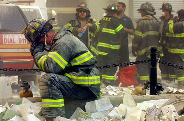 Firemen at Ground Zero, 9/11/01