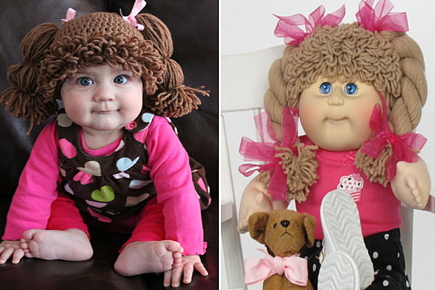 Wig on real baby vs. cabbage patch kid doll